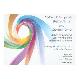"Elegant Swirling Rainbow Wedding Invite - 1 5"" X 7"" Invitation Card"