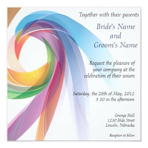 Elegant Swirling Rainbow Wedding Invite - 2