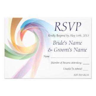 Elegant Swirling Rainbow Wedding RSVP - 1 Announcement