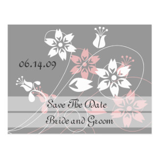 Elegant Swirls And Flowers Save The Date Postcards