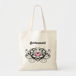 Elegant swirls and hearts bridesmaid tote bag