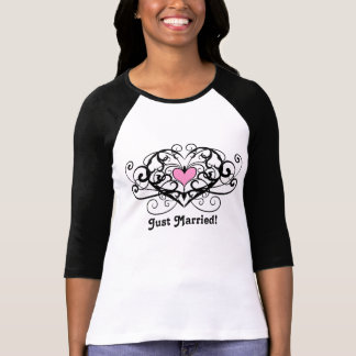Elegant swirls and hearts just married shirt
