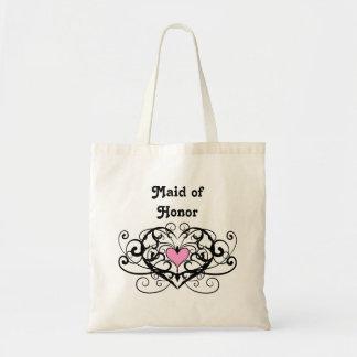 Elegant swirls and hearts maid of honor tote bag