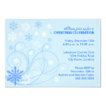 "Elegant Swirls and Snowflakes Party Invitation 5"" X 7"" Invitation Card"