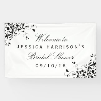 Elegant Swirls Black & White Bridal Shower Banner