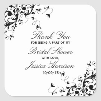 Elegant Swirls Black & White Bridal Shower Square Sticker