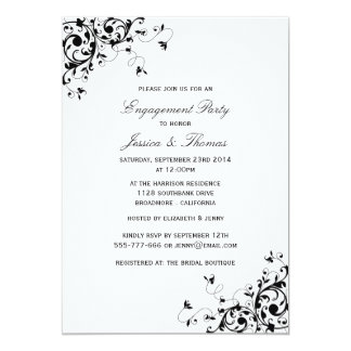 Elegant Swirls Black & White Engagement Party Card