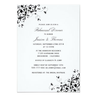 Elegant Swirls Black & White Rehearsal Dinner Card