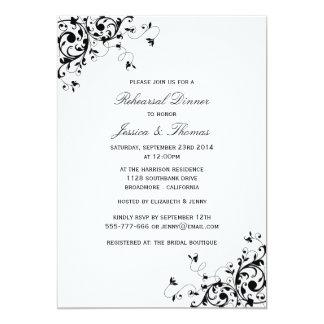Elegant Swirls Black & White Rehearsal Dinner Card