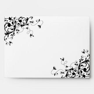 Elegant Swirls Black & White Wedding Envelope