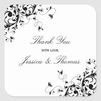 Elegant Swirls Black & White Wedding Favor Or Seal