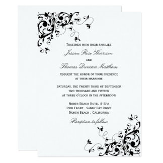 Elegant Swirls Black & White Wedding Invitations
