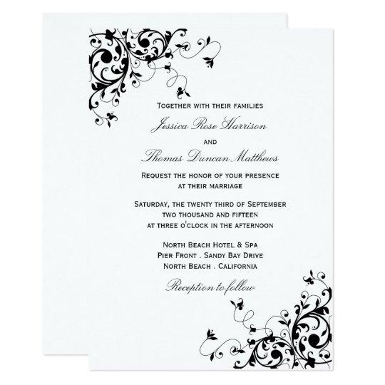 Black White Wedding Invitations: Elegant Swirls Black & White Wedding Invitations