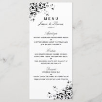 Elegant Swirls Black & White Wedding Menu