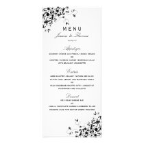 Elegant Swirls Black & White Wedding Menu
