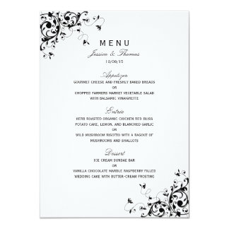 Elegant Swirls Black & White Wedding Menu Card