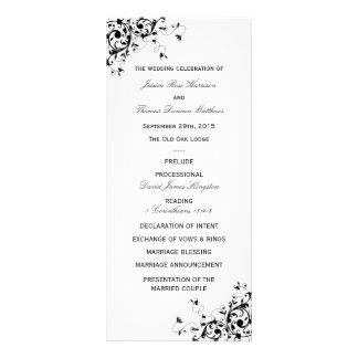 Elegant Swirls Black & White Wedding Program