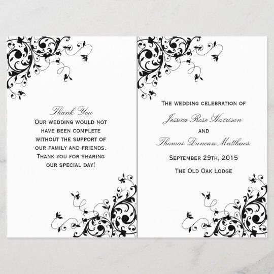 elegant swirls black white wedding program zazzle com