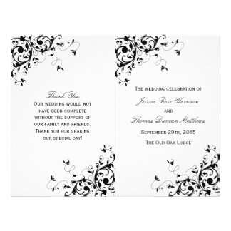 Elegant Swirls Black & White Wedding Program