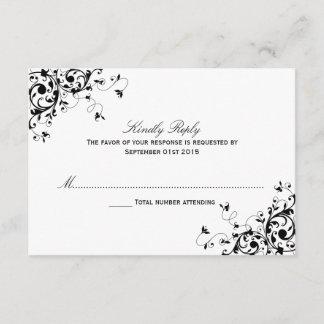 Elegant Swirls Black & White Wedding RSVP Cards