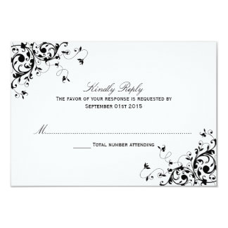 Elegant Swirls Black & White Wedding RSVP Cards