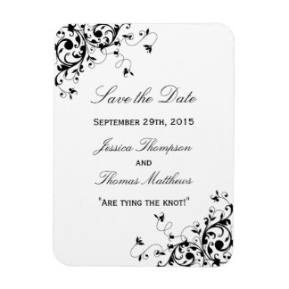 Elegant Swirls Black & White Wedding Save The Date Magnet