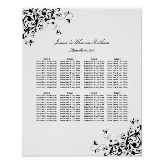 Elegant Swirls Black & White Wedding Seating Chart