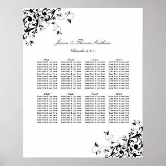 Elegant Swirls Black & White Wedding Seating Chart
