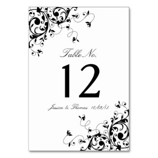 Elegant Swirls Black & White Wedding Table Number Card