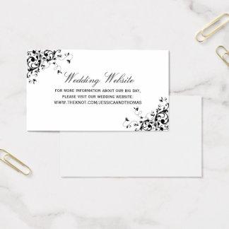 Elegant Swirls Black & White Wedding Website Business Card