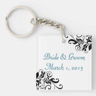 Elegant Swirls Blue Wedding Keychain