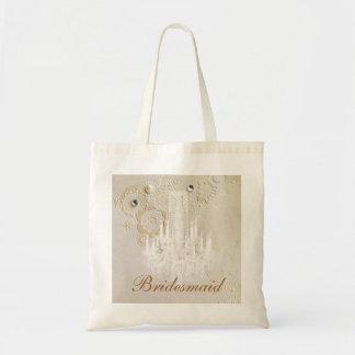 elegant swirls chandelier vintage bridesmaid tote bag