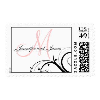 Elegant Swirls Light Pink Monogram Wedding Postage