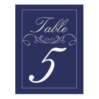 Elegant Swirls Navy Wedding Table Number Cards Postcard