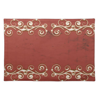 Elegant Swirls on a Red Distressed Background Placemats