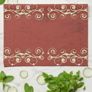 Elegant Swirls on a Red Kitchen Towel