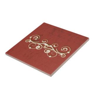 Elegant Swirls on a Red Tile