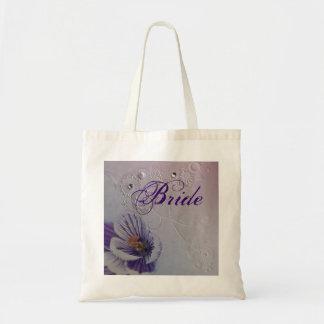 elegant swirls purple orchid floral bride tote bag