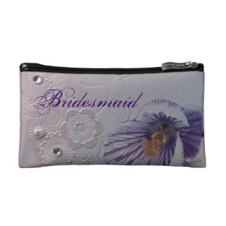 elegant swirls purple orchid floral bridesmaid cosmetics bags