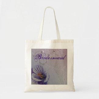 elegant swirls purple orchid floral bridesmaid tote bag