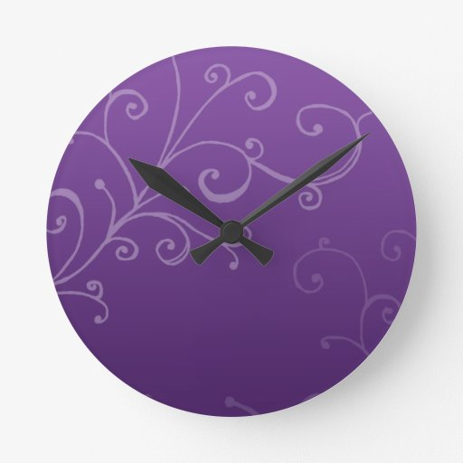 Elegant Swirls Purple Round Wall Clocks Zazzle