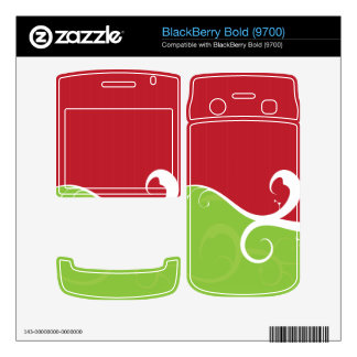 Elegant Swirls Red and Green Decal For BlackBerry Bold