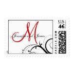Elegant Swirls Red Monogram Wedding Postage
