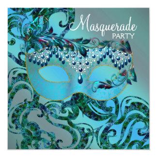 Elegant Swirls Teal Blue Masquerade Party Card