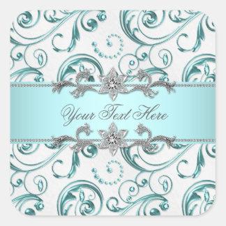 Elegant Swirls Teal Blue Square Sticker