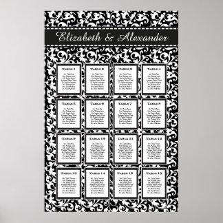 Elegant Swirls Wedding 16 Table Seating Chart Poster