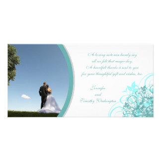 Elegant swirls wedding thank you photocard card