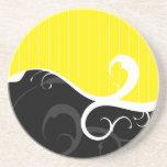 Elegant Swirls Yellow and Black Beverage Coasters