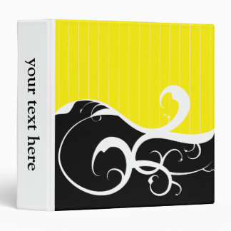 Elegant Swirls Yellow and Black Binder