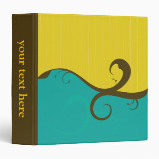 Elegant Swirls Yellow and Blue Binder